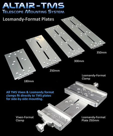 Altair TMS Losmandy Dovetail Plate 180mm 250mm 300mm 350mm Silver
