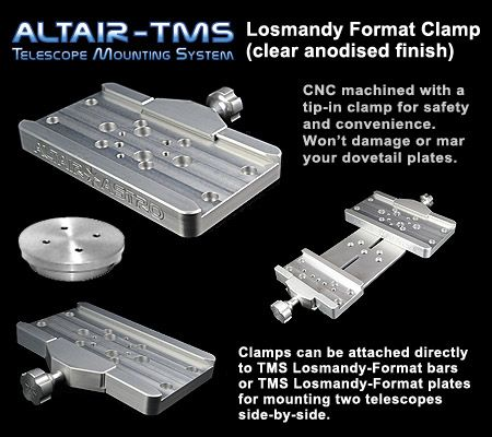 Altair TMS - Losmandy Dovetail Plate Clamp Upgrade Skywatcher NEQ6 EQ6 HEQ5 (Clear Silver)