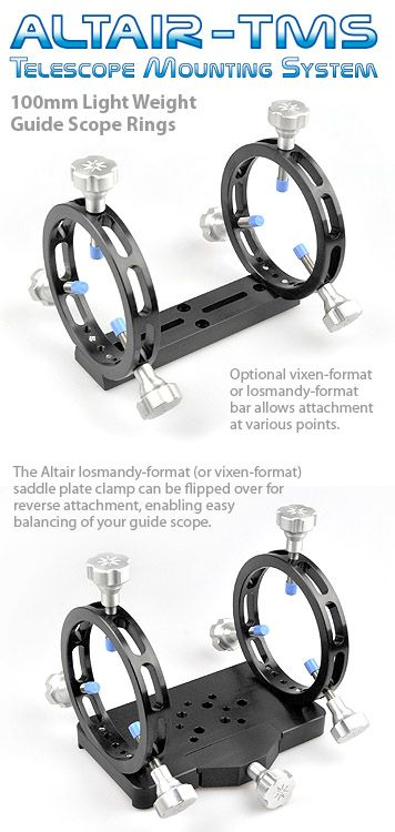 Altair TMS Ultra Light 100mm Guide Scope Rings Black Anodised